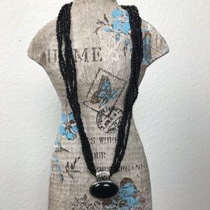 Necklace Black Beads Silver Black Pendent